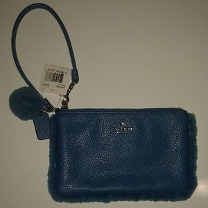 Coach Sherling Nolita Peacock Leather Wristlet